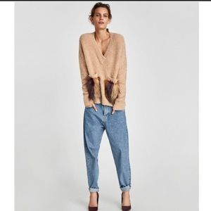 NWT Zara Camel Knitwear Sweater w Textured Pockets